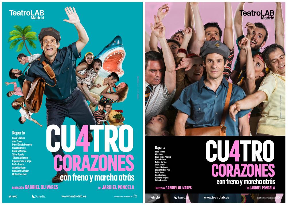 cartel Cuatro Corazones con Freno y Marcha Atrás
